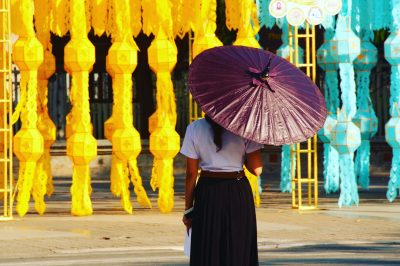 Thai girl, Bo Sang umbrella, Loy Kathong lanterns