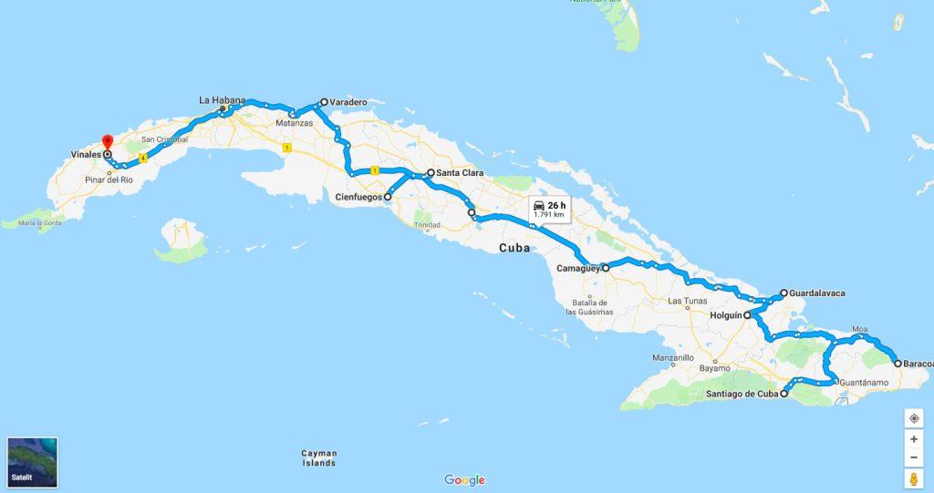 Traseul din Cuba