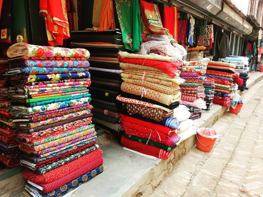 Bhaktapur- magazin de țesături