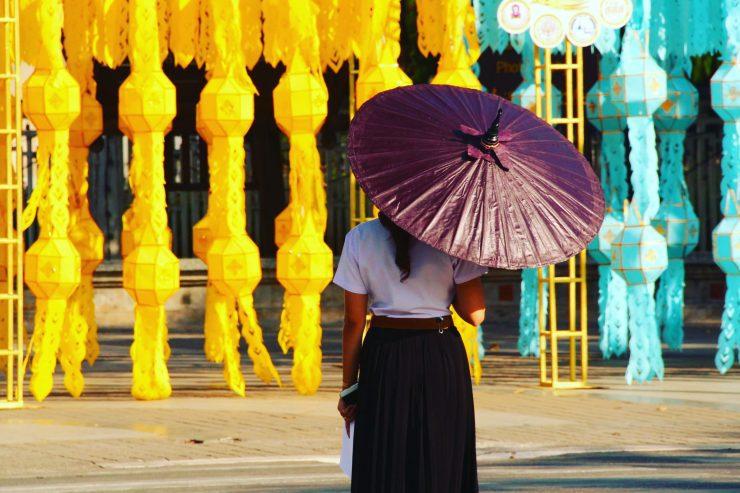 Thai girl, Bo Sang umbrella, Loy Kathong lanterns