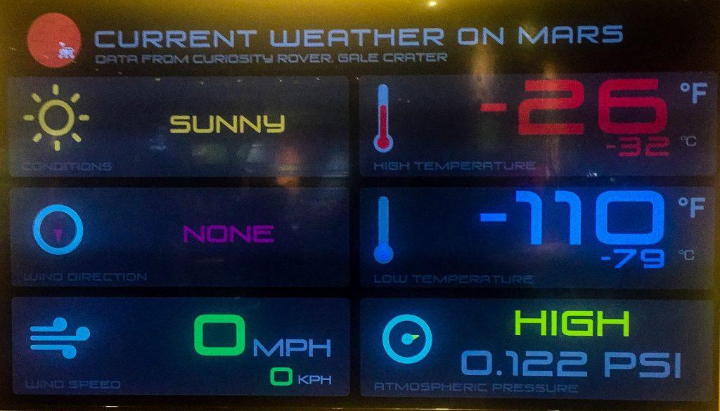 Vremea pe Marte în ziua când am vizitat Houston Space Center.