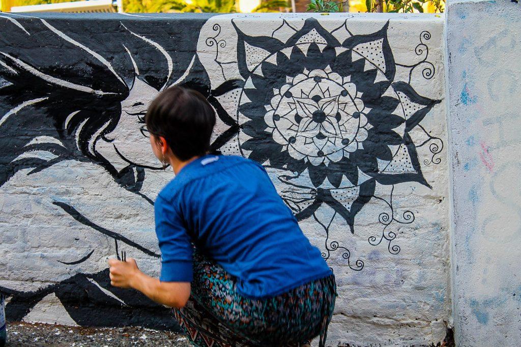 Graffiti în curs de realizare, Valparaiso